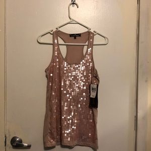 Light pink sparkle tank top